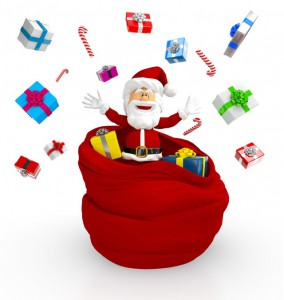 Weihnachtsmann verteilt Geschenke