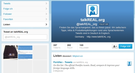 Screenshot talkREAL Twitter Profile