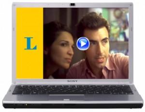 Laptop zeigt Langenscheidt Online-Videokurs Italienisch