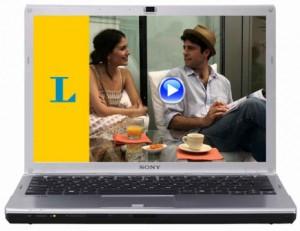 Laptop zeigt Langenscheidt Online-Videokurs Spanisch