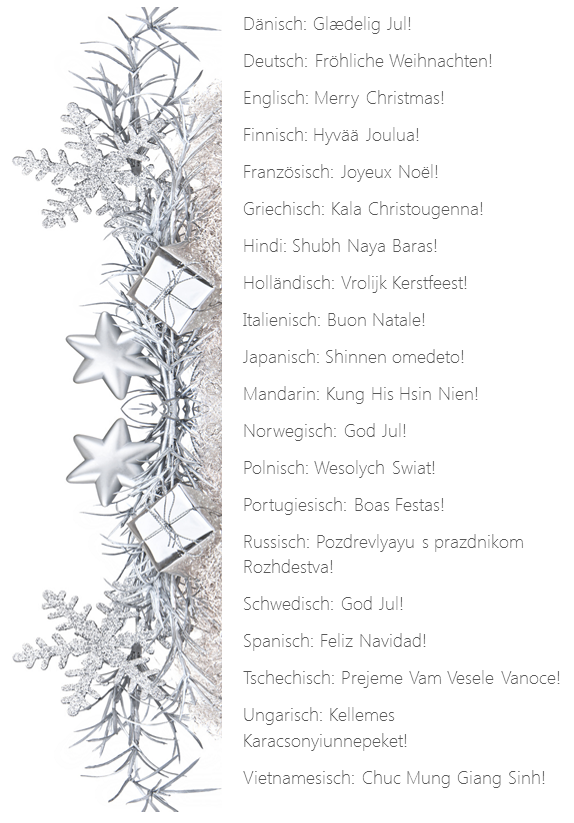 Weihnachtsgrüße in 20 Sprachen
