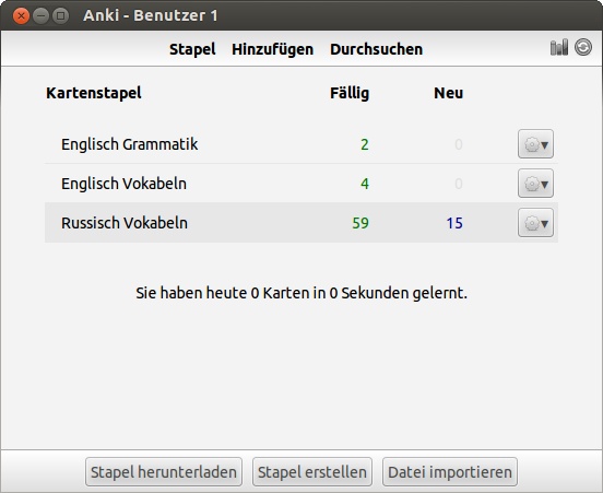 Anki Start-Bildschirm