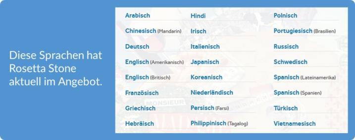 Rosetta Stone verfügbare Sprachen