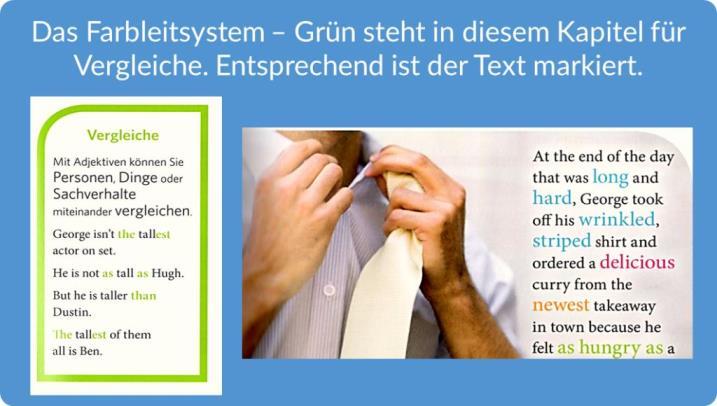 Beispiel für das Farbleitsystsem der Grammatik mit Bildern