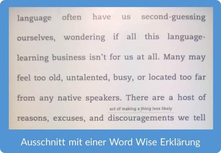 Beispiel Word Wise mit englischem Buch