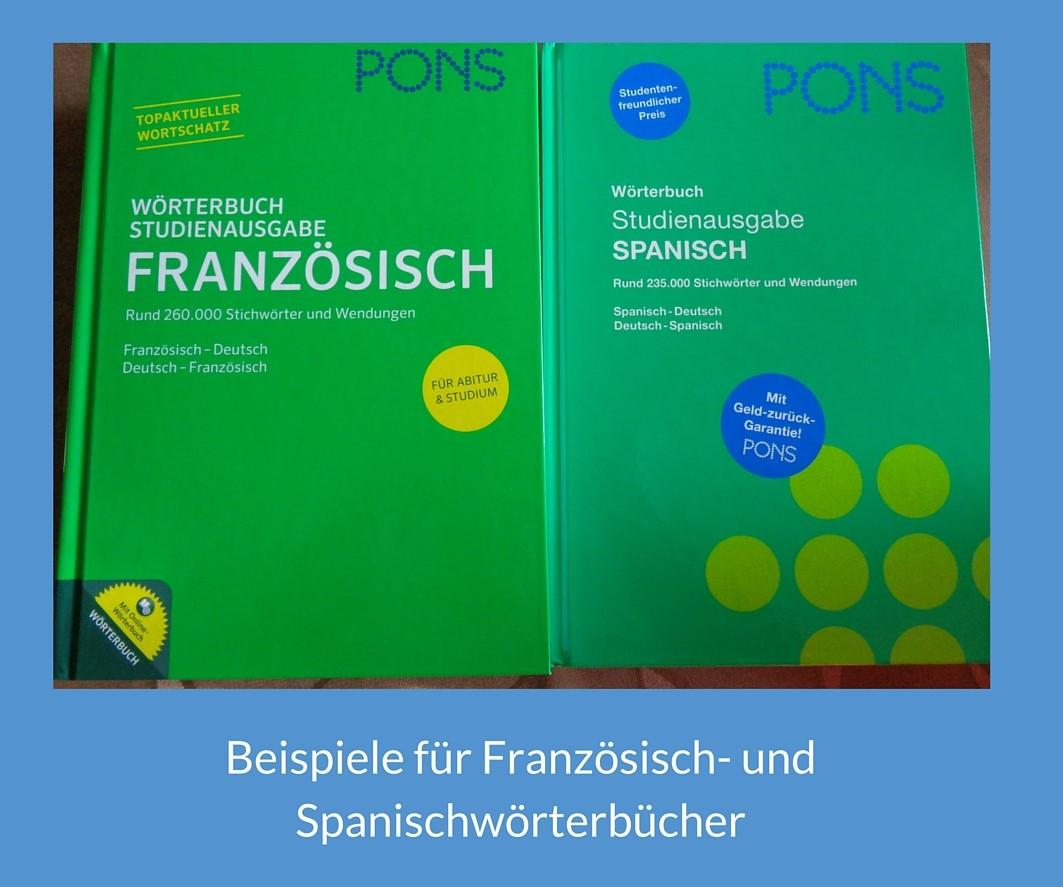 Beispiel Französisch und Spanisch Wörterbuch