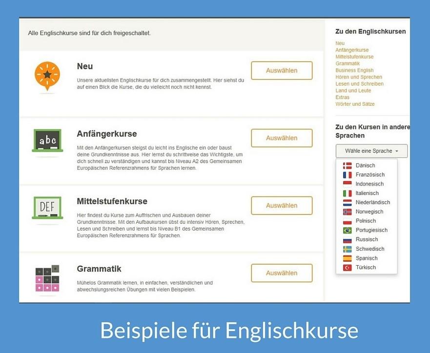Beispiele für Englischkurse allgemein