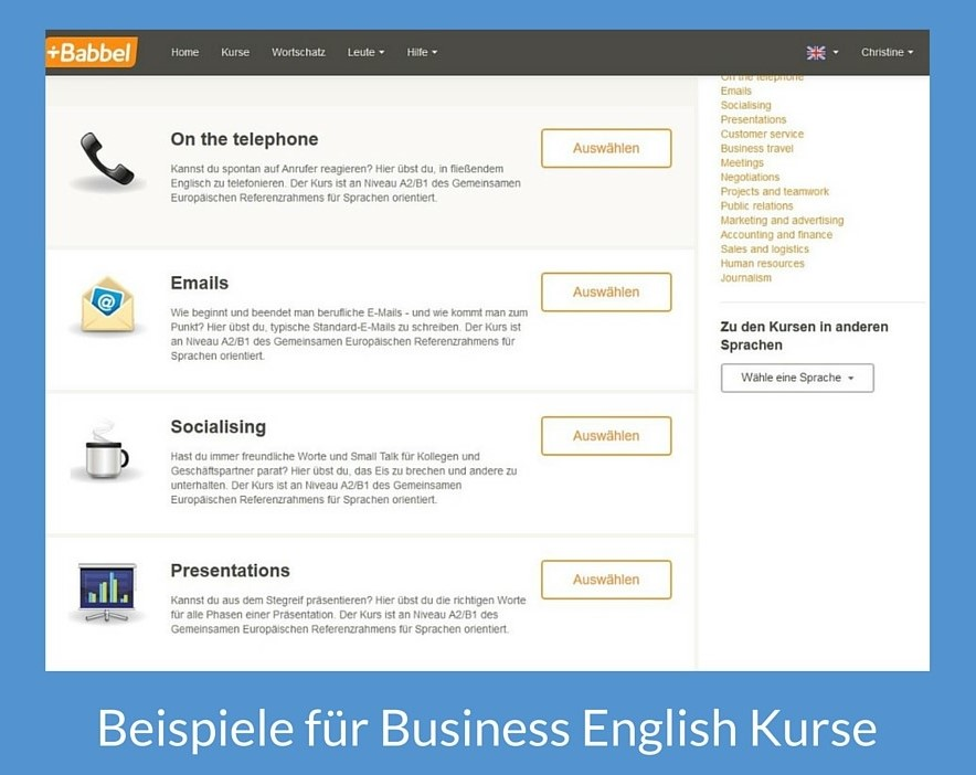 Beispiele für Kurse Business English