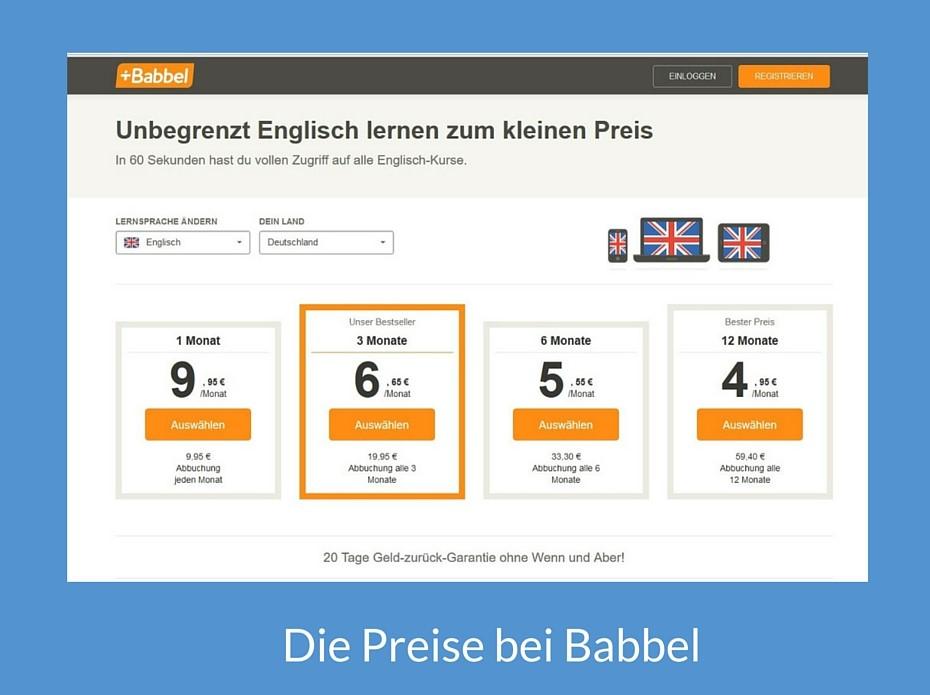 Die Preise bei Babbel