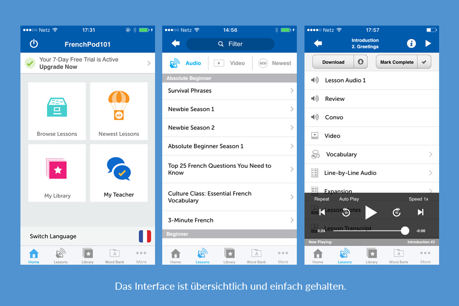 LanguagePod101 Interface Gestaltung