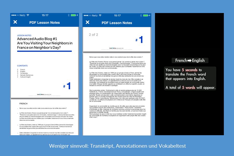 Weniger sinnvolle Features: Transkript und Vokabeltest