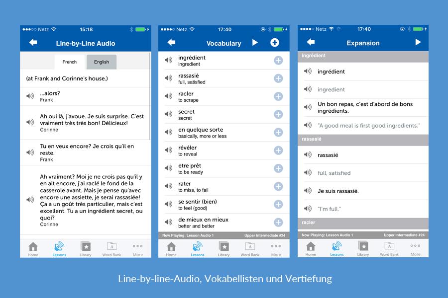 Line-by-line-Audio, Vokabellisten und Vertiefung