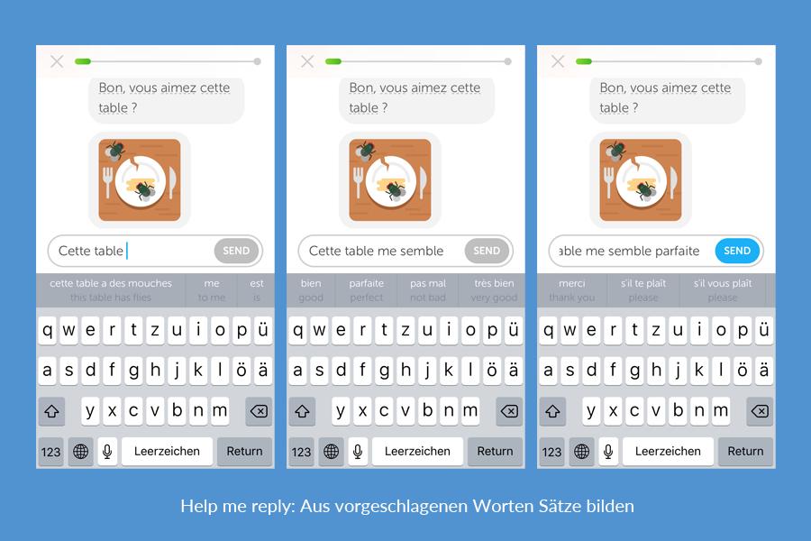 Duolingo Bots: Help me reply - Aus vorgeschlagenen worten Sätze bilden