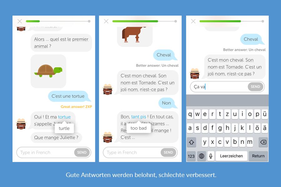 Reden Duolingo Bots: Gute Antworten werden belohnt, schlechte verbessert