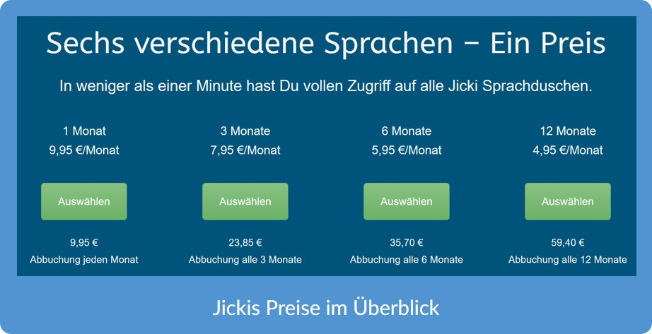Jicki Sprachkurs Preise