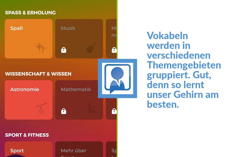 Die Themenübersicht in der Drops App im Test