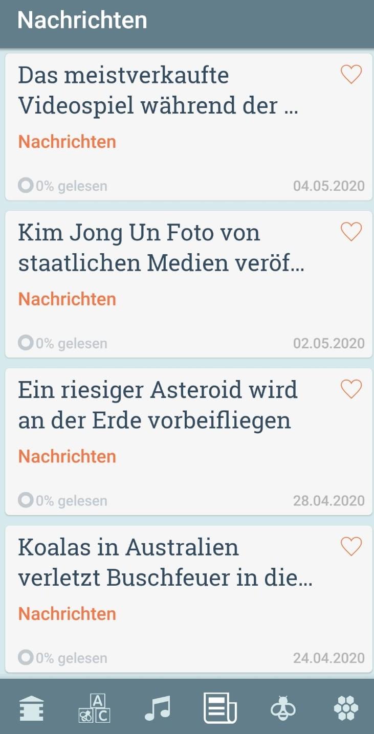 """Die Kategorie """"Nachrichten"""" in der Beelinguapp"""