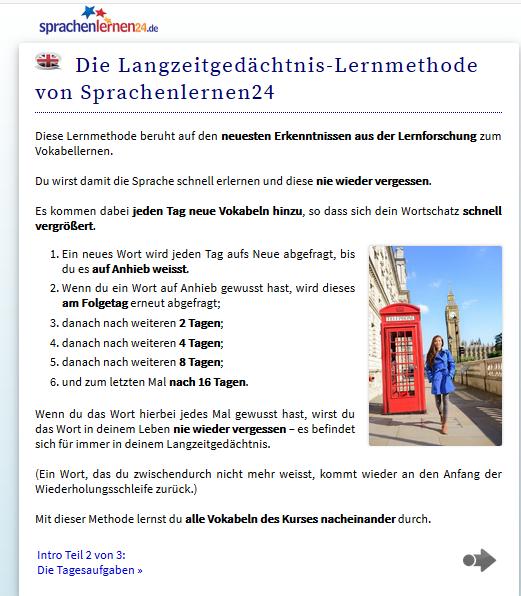 Beispiel Sprachenlernen24 Intro