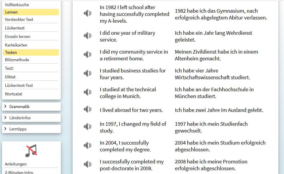 Sprachenlernen24 - Blick in die Lektion