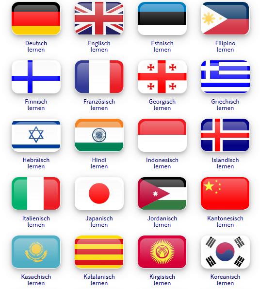 Sprachenlernen24 - Beispiel der verfügbaren Sprachen