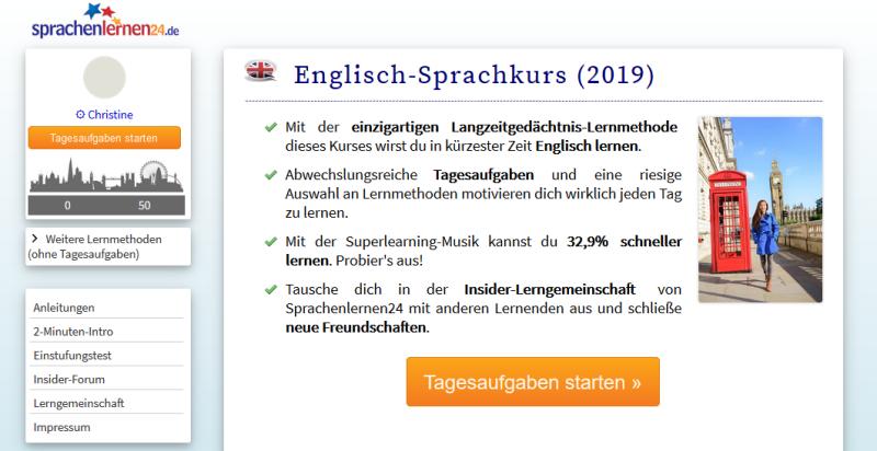 Sprachenlernen24 Startseite im Test
