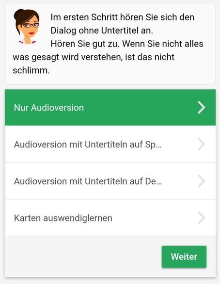 Hörverständnistraining in der Mosalingua App