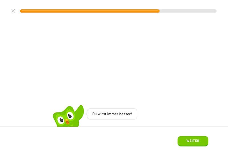 Duolingo Maskottchen sorgt für Motivation