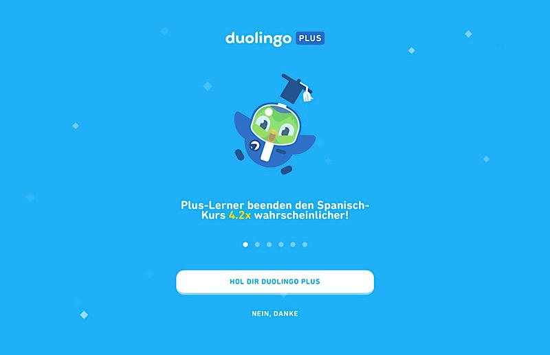 Duolingo Plus Versprechen