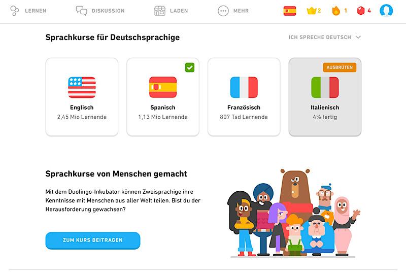 Duolingo Sprachauswahl Deutsch im Test