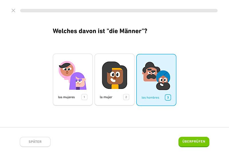 Duolingo Beispielübung zum Vokabeltraining
