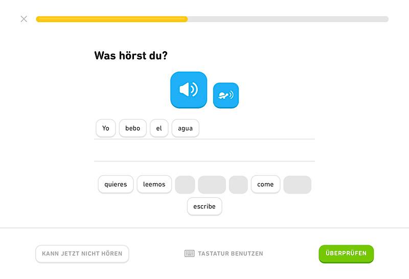 Duolingo Beispielübung zum Hörverstehen