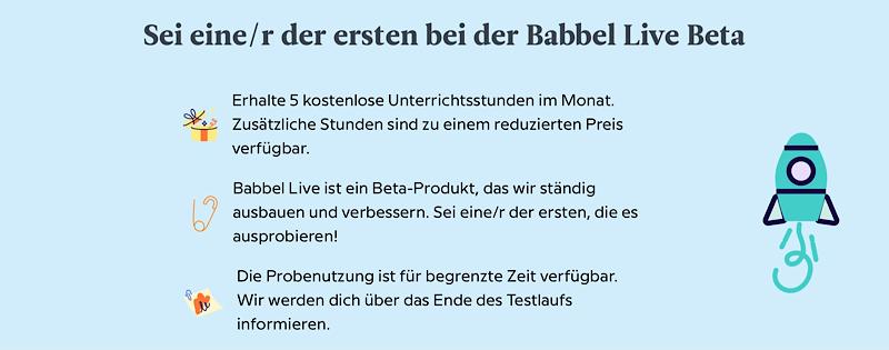 Babbel Live Info