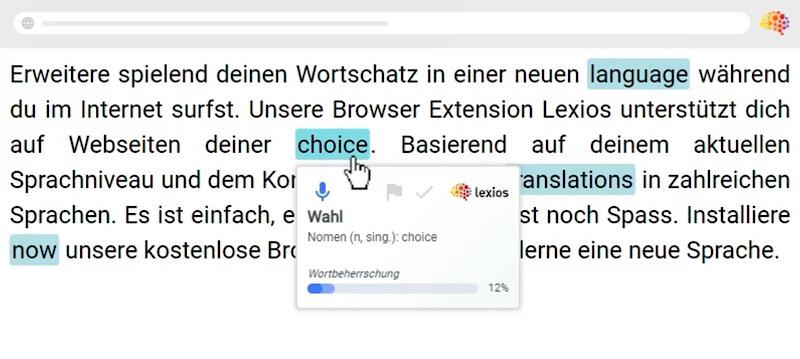 Die Browser-Erweiterung zum Sprachenlernen Lexios für innovatives Sprachenlernen