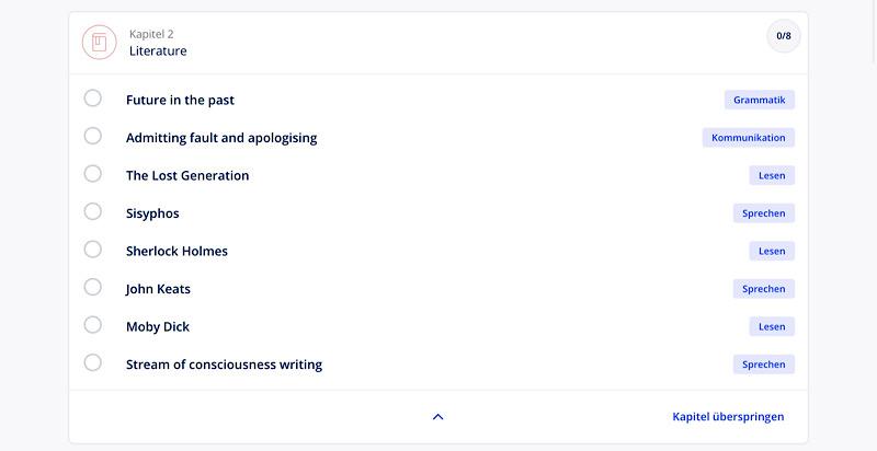 Lingoda im Test: Themenauswahl